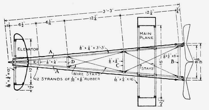 Figs. 35 and 36.—Working-drawings of Model Aeroplane Designed and Built by Harry Wells. This Model has a record of 1620 feet made at the Aero Club of Illinois' Aviation Field at Cicero, Chicago.